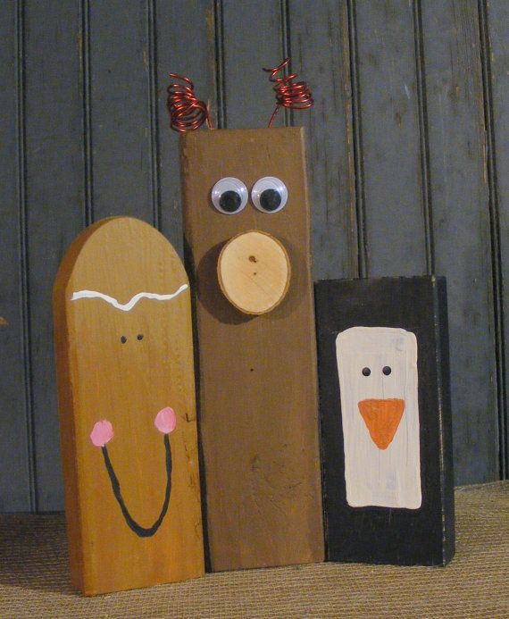 Wooden Gingerbread Man Wood Reindeer Wood Penguin