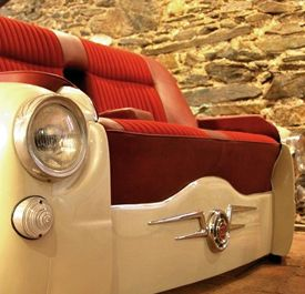 Recycled car / sofa - fun whimsical repurpose idea for game/ family room