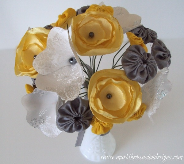 Yellow and gray fabric flower bouquet from www.marktheoccasiondesigns.com