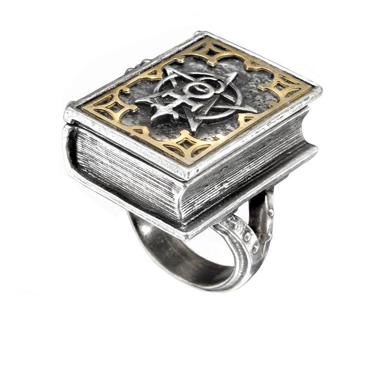 Alchemy Gothic Occult Dee's Book of Angel Magic Ring The magnificent cover displays the alchemist's glyph of the mystical unity of creation, and opens to reveal a wealth of secrets. Pewter with brass