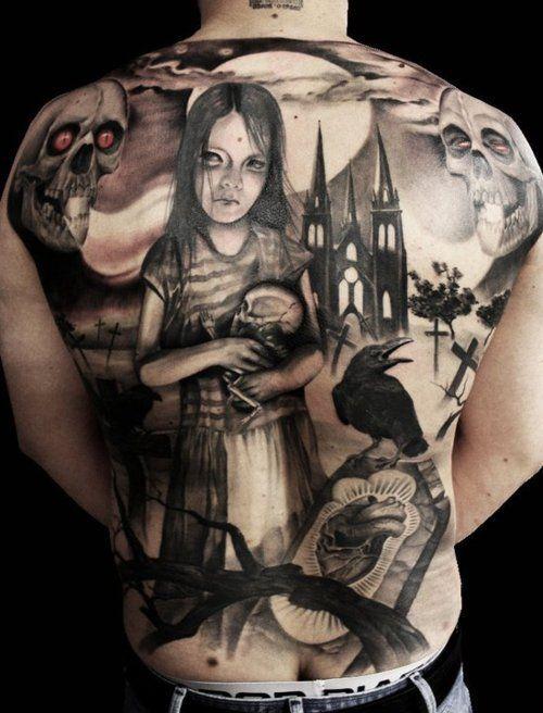 black & grey tattoo with gothic scene church skulls girl crow ...