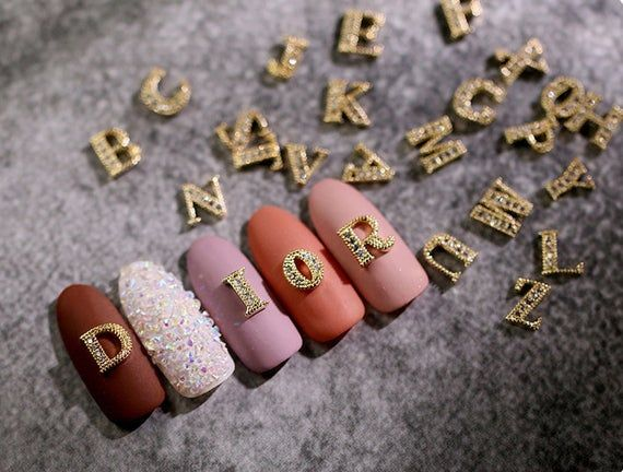 2 Pcs A Z English Letters Gold 3d Metallic Rhinestone Nail Etsy In 2020 Rhinestone Nails Studded Nails Nails
