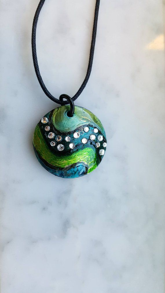 25163fdb2a8d7 Wavy blue and green polymer clay 1.5 inch abstract pendant with ...