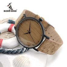 BOBO BIRD E19 New Arrival Top Quality Round Watches Bamboo Watch Face with Stainless Steel Case Cork Leather Bands with Gift Box(China (Mainland))