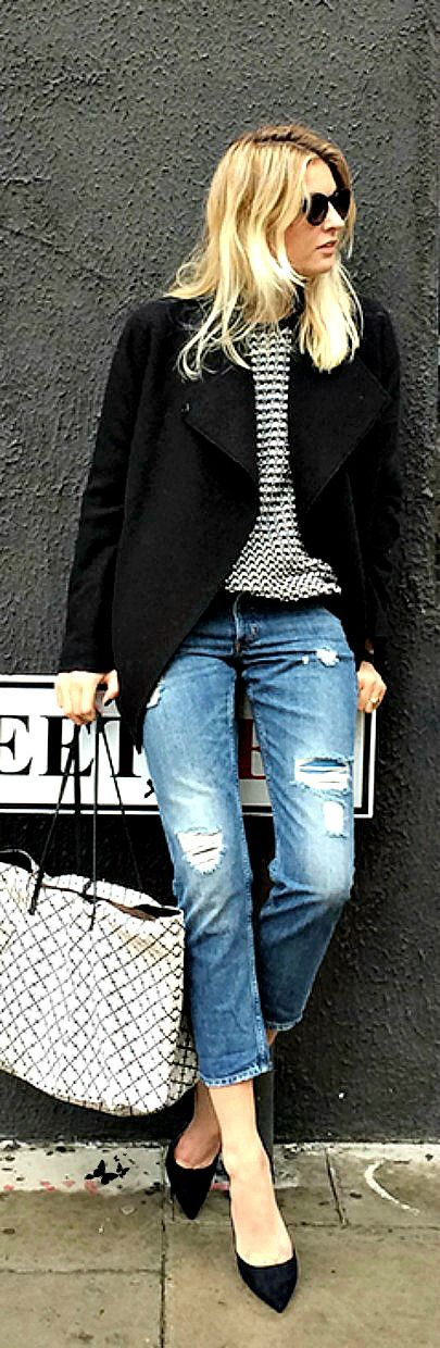 Style your distressed denim with blazer and classic pumps.