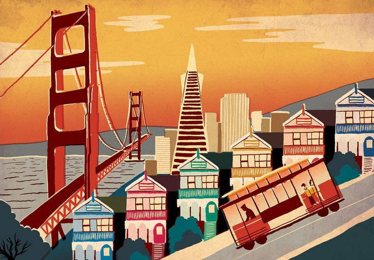 Vintage-Style Illustrations of Famous Cities by Sam Brewster San Francisco