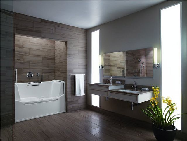 Kohler's Elevance Rising Wall Bath. Easy access; easy on the eyes.