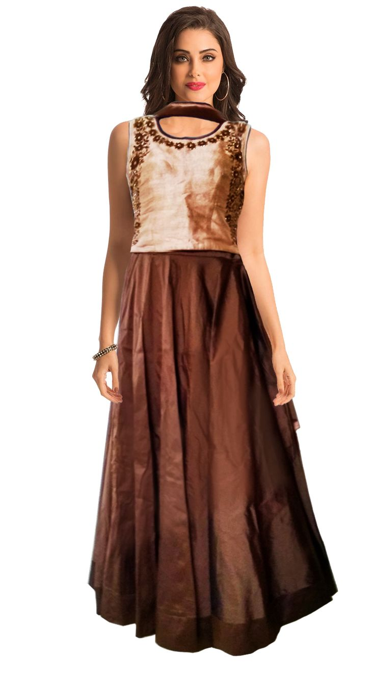 Add charisma to your personality with this amazing indo - western lehenga with its spectacular design and gripping brown color. The Crop Top is embellished with thread work, rhinestone work, Golden Fancy Bead work, and net peep - through back pattern and leaf cutout on back.