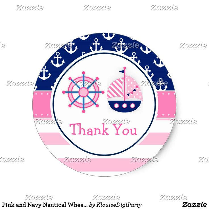 Pink and Navy Nautical Wheel Thank You Baby Shower Classic Round Sticker