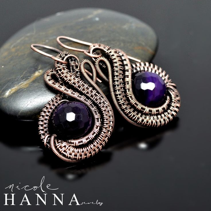 These wire wrap copper earrings, measuring just 3.3cm in length (excluding ear wires), are inspired by Mother Nature, with many yards of raw copper wire hand coiled, woven and layered in the flowing shape of a tulip, with a very large and highly faceted dyed purple agate focal. Ear wires are pure...