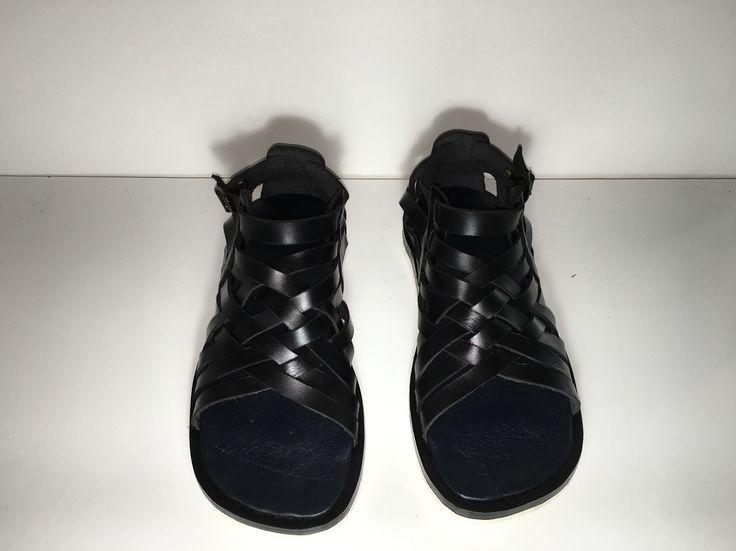 Ancient Greek handmade sandals, men sandals, sandals, men, black sandals, leather, leather sandals, Grecia, black, fashion, fashion sandals, Greek sandals , striped sandals