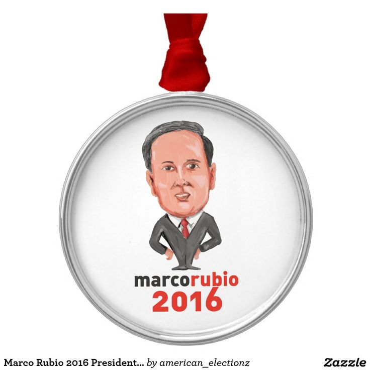 Marco Rubio 2016 President Caricature Metal Ornament. Marco Rubio 2016 President Caricature Metal Ornament. Caricature illustration showing Marco Rubio, an American senator, politician and Republican 2016 presidential candidate standing with words Marco Rubio 2016 done in cartoon style. #americanelections #elections #vote2016 #election2016
