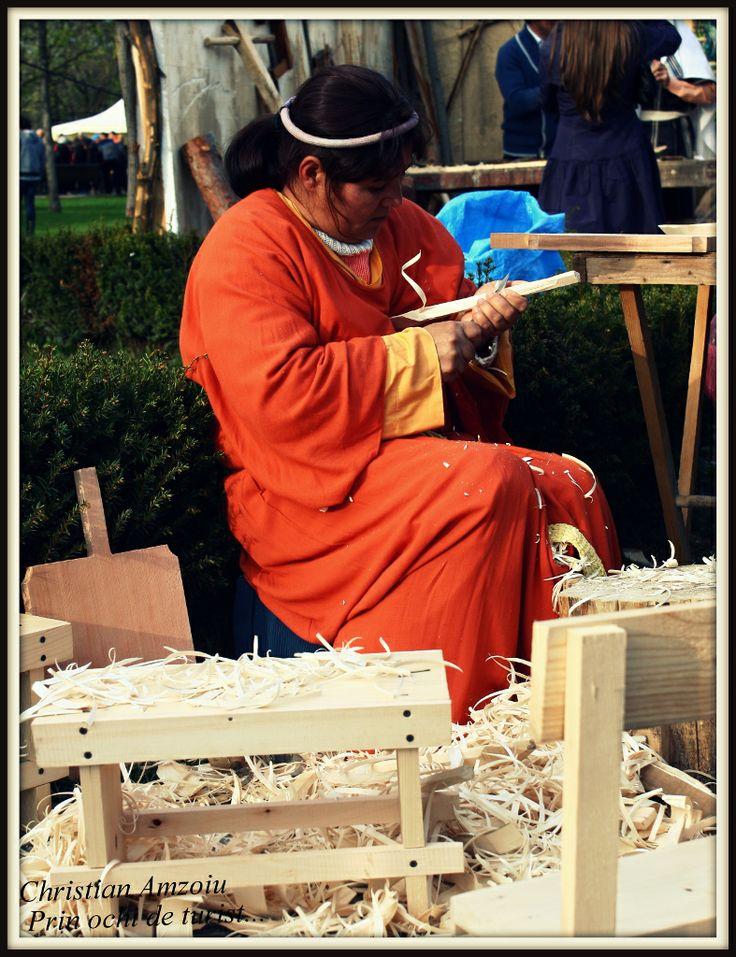 carpenter making wooden tools...
