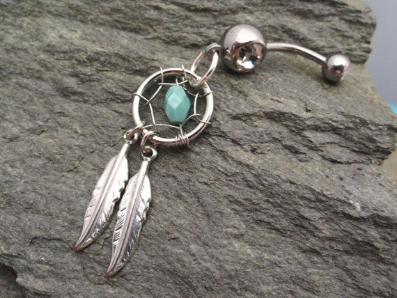 Check out  Turquoise Dream Catcher Stomach Button Jewellery Silver Feathers Stomach Ring...