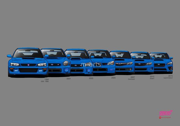 Subaru WRX STi generations - Poster V2 by m-arts