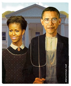 GMO on the farm or organics? Monsanto and Obama: American Gothics, Stuff, Family, Michelle Obama, Art American Gothic, Barack Obama, President Obama
