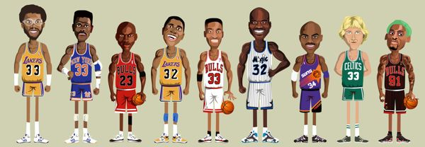 NBA Legends on Behance Kareem Abdul Jabbar,Patrick Ewing, Michael Jordan, Magic Johnson,Scottie Pippen & Shaquille O'Neal, Charles Barkley, Larry Bird & Dennis Rodman
