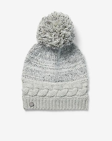 d7e98cf2648 Cable Knit Feathered Pom Beanie Women s Gray in 2018