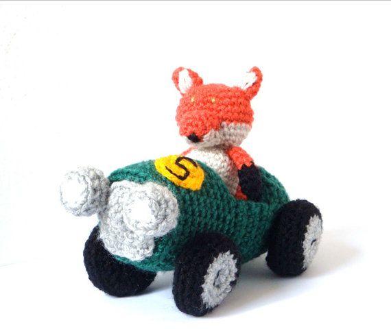 Amigurumi Patterns Cars : Amigurumi Pattern Fox - Race Car & Fox - Crochet Pattern