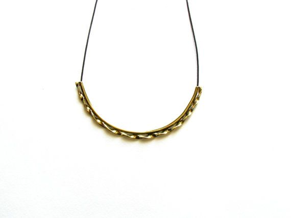 Long Curved Bar Necklace-Curved Statement by SotiriaVasileiou