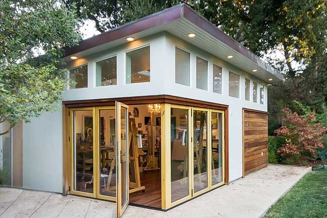 Nana Folding Glass Doors on Corner Open to Patio