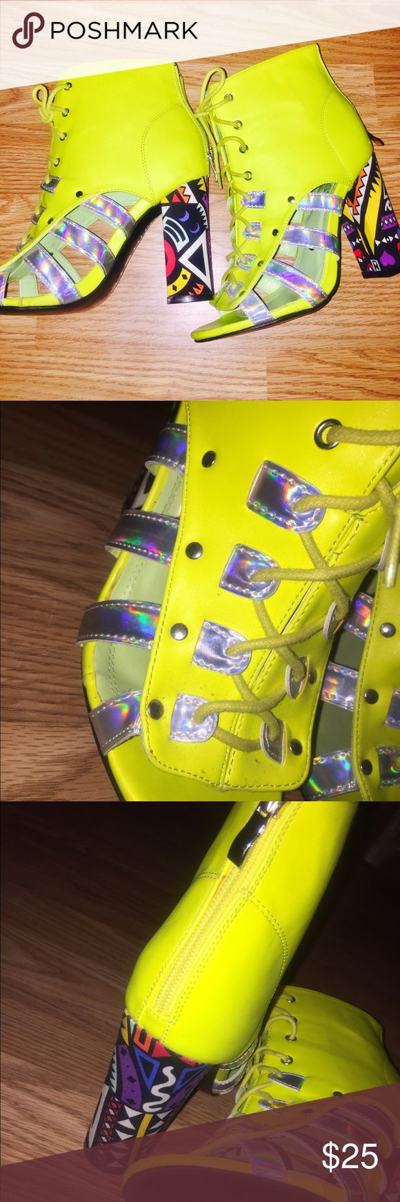 Neon Heels These unique shoes are super comfy and are true to size. They are a neon yellow with cute holographic straps in the from! Shoes Heels