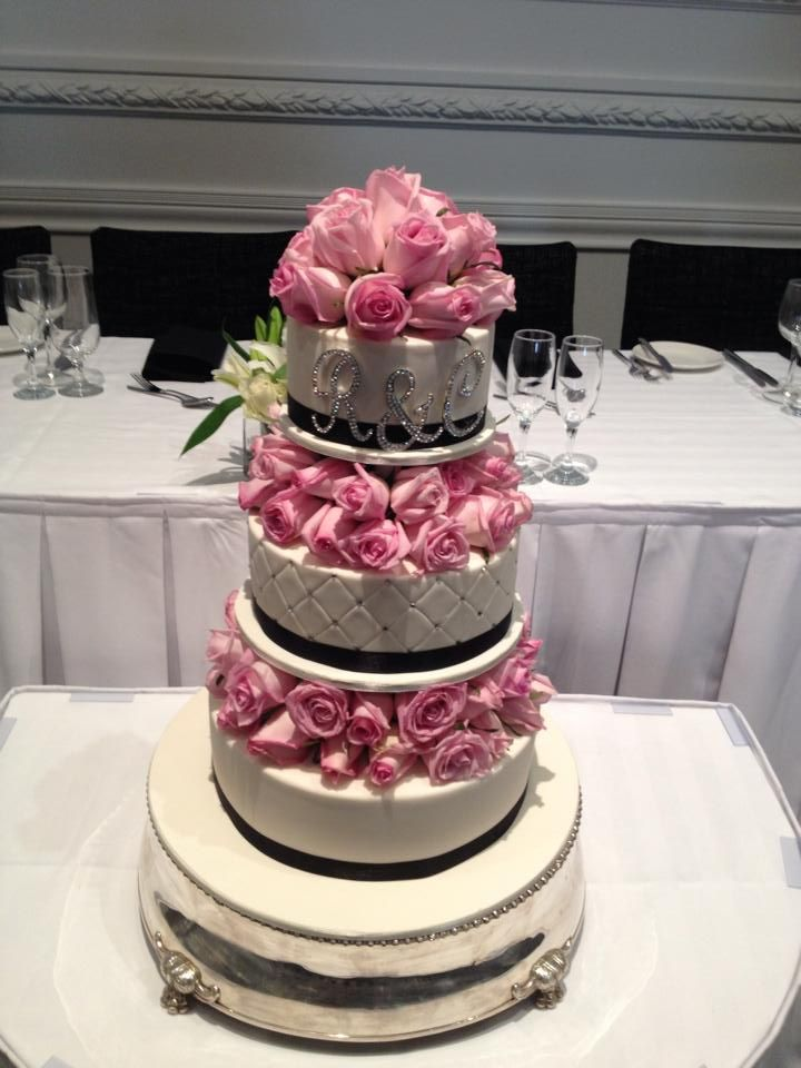 3 Tier wedding cake with fresh roses