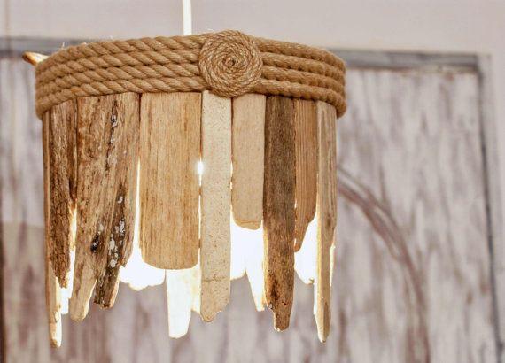Driftwood Hanging Light Chandelier / Table Lamp, Coastal Chic Lamp, Rope Lamp, Sunburst Lamp