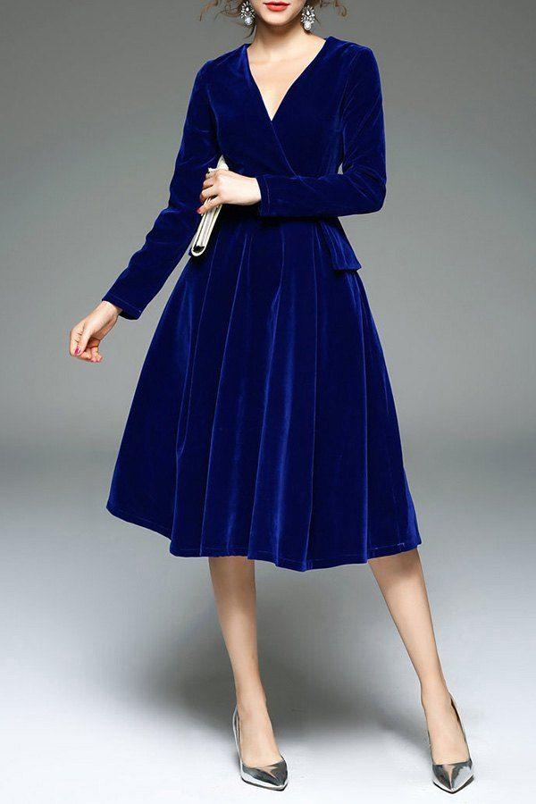 Royal Blue Velour Dress Dresses Velvet Fashion