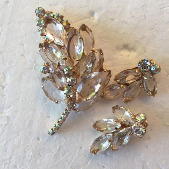 Rhinestone Brooch /& Earring Set