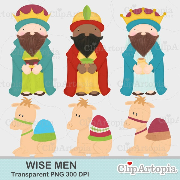 Wise Men Christmas Nativity Cute Christmas Digital Clipart for Invitations, Card Design, Scrapbooking, and Web Design. $4.50, via Etsy.