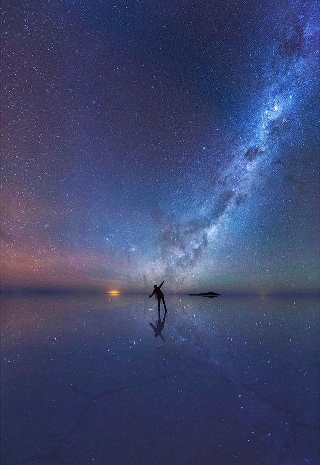 Imagine a still night, no wind, and a mirror perfectly reflecting the night sky…