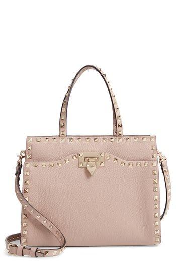 f844d412fe Valentino Garavani Small Rockstud Leather Satchel - Beige | Handbags ...