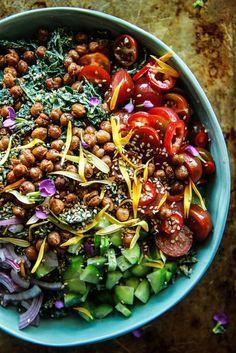 Tahini Kale Salad with Crispy Chickpeas-