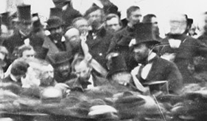 The only photograph of Abraham Lincoln delivering the Gettysburg Address, he is in the center without a hat
