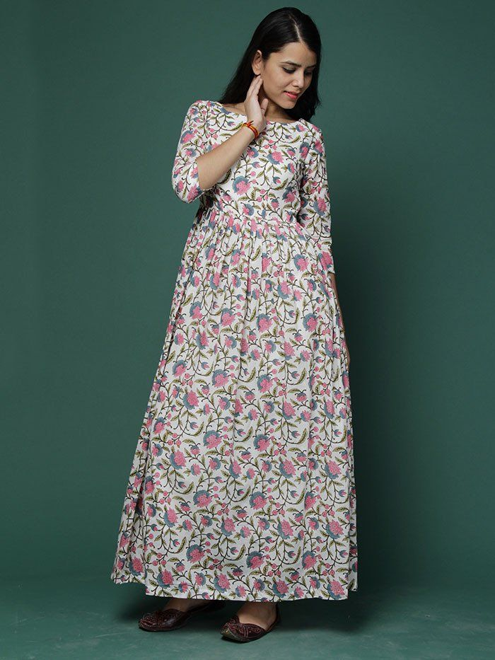 Off White Pink Block Printed Cotton Maxi Dress