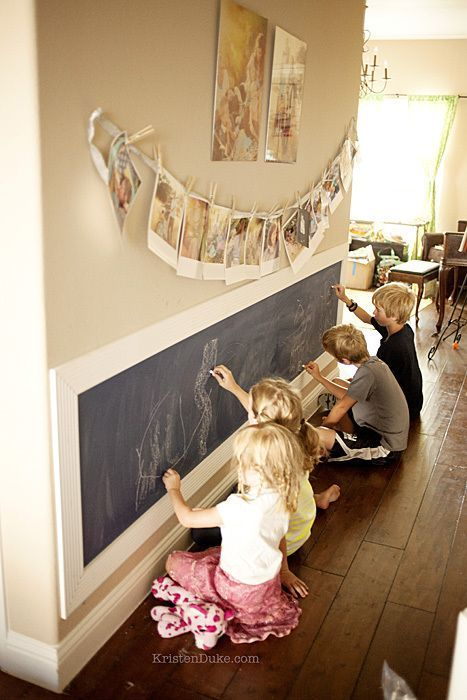 Kids Chalkboard Art Wall~How to turn a textured wall into a smooth wall - Captur...