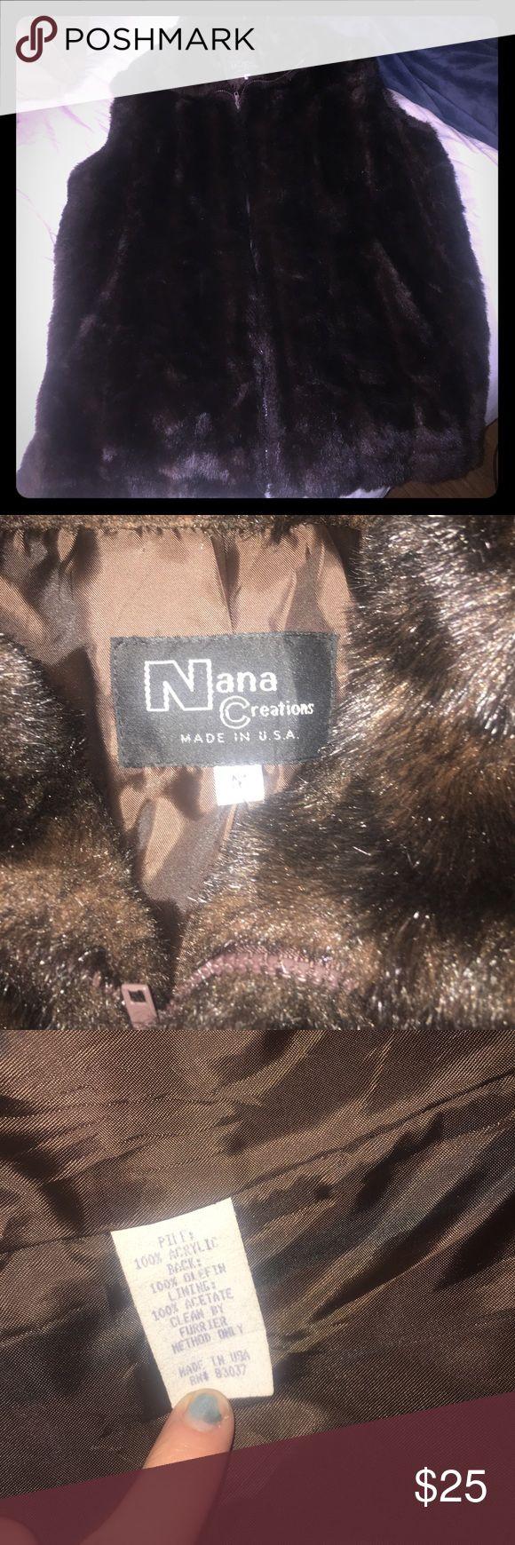 Long Brown Fur Vest size medium Size medium length 32 inches zippers fully closed NaNa Jackets & Coats Vests