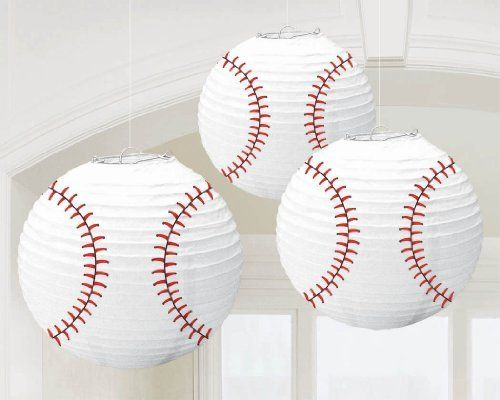 Turn regular white paper lanterns into giant baseballs by painting or drawing on the stitching