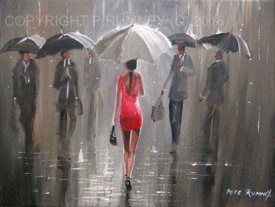 PETE RUMNEY FINE ART MODERN ACRYLIC OIL ORIGINAL PAINTING RAIN UMBRELLA GIRL RED in Art, Artists (Self-Representing), Paintings   eBay