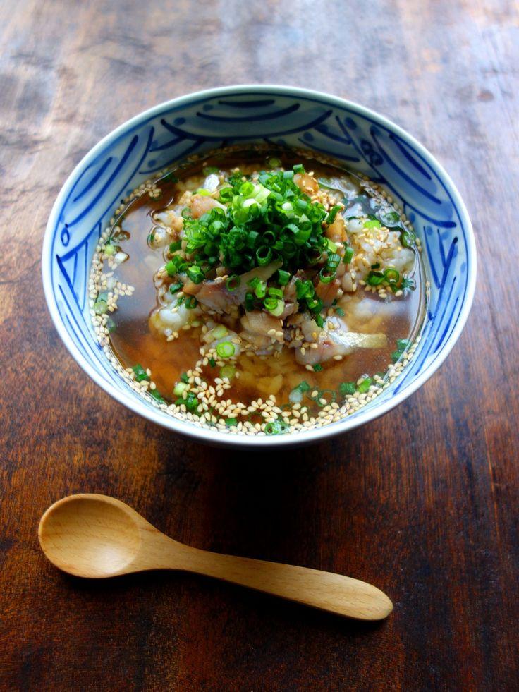 Japanese jack mackerel in hot tea /stock soup鯵のだし茶漬け