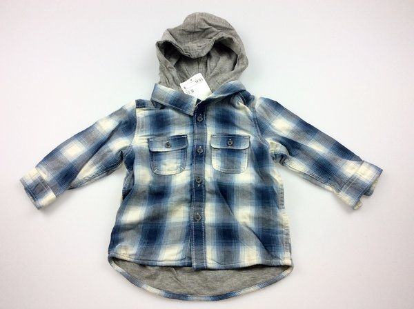H&M, long-sleeved checked shirt with hood, BNWT, size 00, $10 (RRP $19.95)   #hm #shirts #hoodie #babyclothes #boysfashion #kidsfashion #daisychainclothing