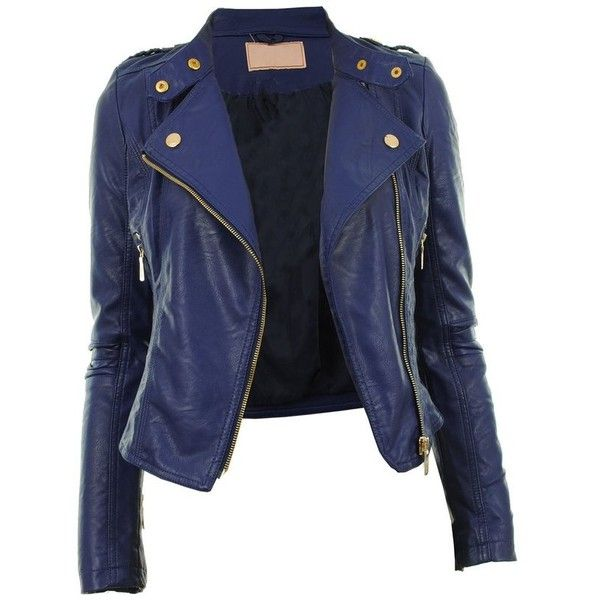 Diana New Womens Faux Leather Biker Gold or Metal Button Zip Crop... ❤ liked on Polyvore featuring outerwear, jackets, tops, zipper jacket, blue biker jacket, gold faux leather jacket, cropped faux leather jacket and vegan leather jacket
