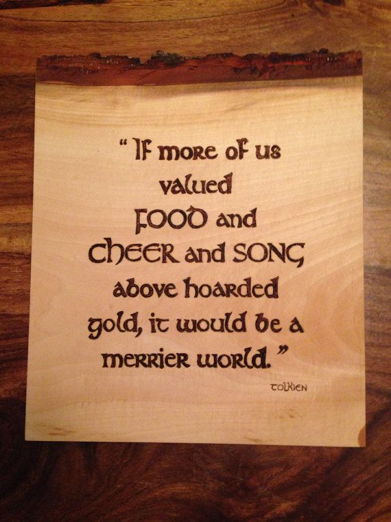 Tolkien quote burned onto barked lime wood. Home by Theburnttree