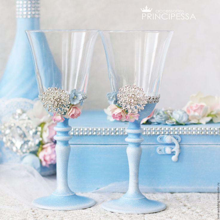 """Купить """"Голубые и розовые цветы"""" бокалы свадебные - голубой, аксессуары, Аксессуары handmade, аксессуары для фотосессий"""