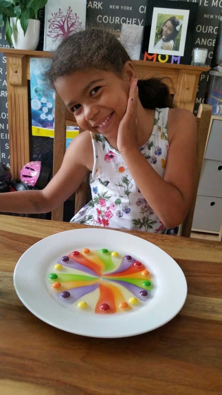 Skittles experiment - spread out sweets & just add warm water to the middle & watch the magic