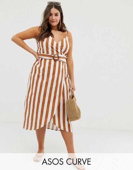 1a766570aa46 ASOS Curve   ASOS DESIGN Curve wrap midi dress with buckle belt in stripe