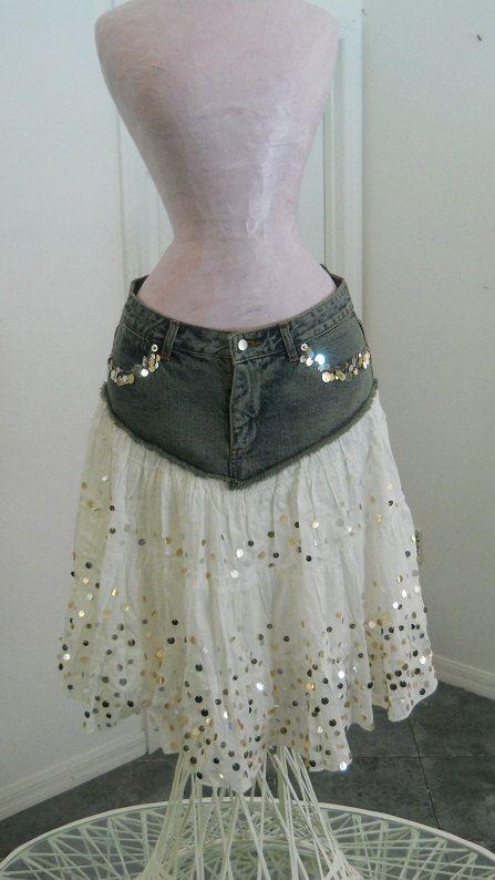Ma Mignonne white ruffled gold sequins Renaissance Denim Couture bohemian jean skirt SALE