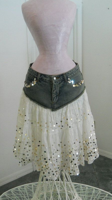 Ma Mignonne white ruffled gold sequins Renaissance Denim Couture bohemian jean skirt SALE