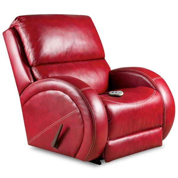 Sectional Sofas Massaging Como Red Leather Recliner with Heat Control